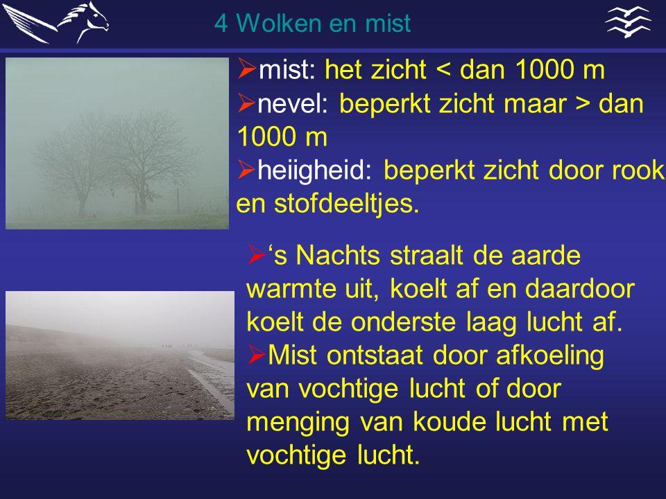  mist: het zicht < dan 1000 m  nevel: beperkt zicht maar > dan 1000 m  heiigheid: beperkt zicht door rook en stofdeeltjes. 4 Wolken en mist  's Na