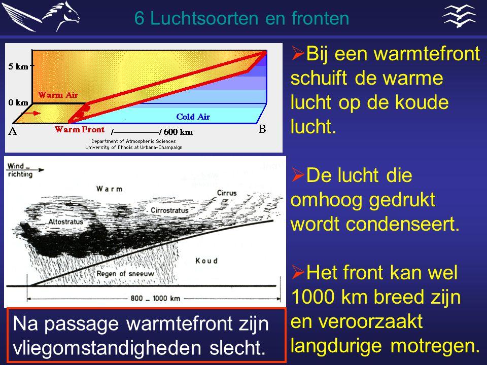  Bij een warmtefront schuift de warme lucht op de koude lucht.  De lucht die omhoog gedrukt wordt condenseert.  Het front kan wel 1000 km breed zij