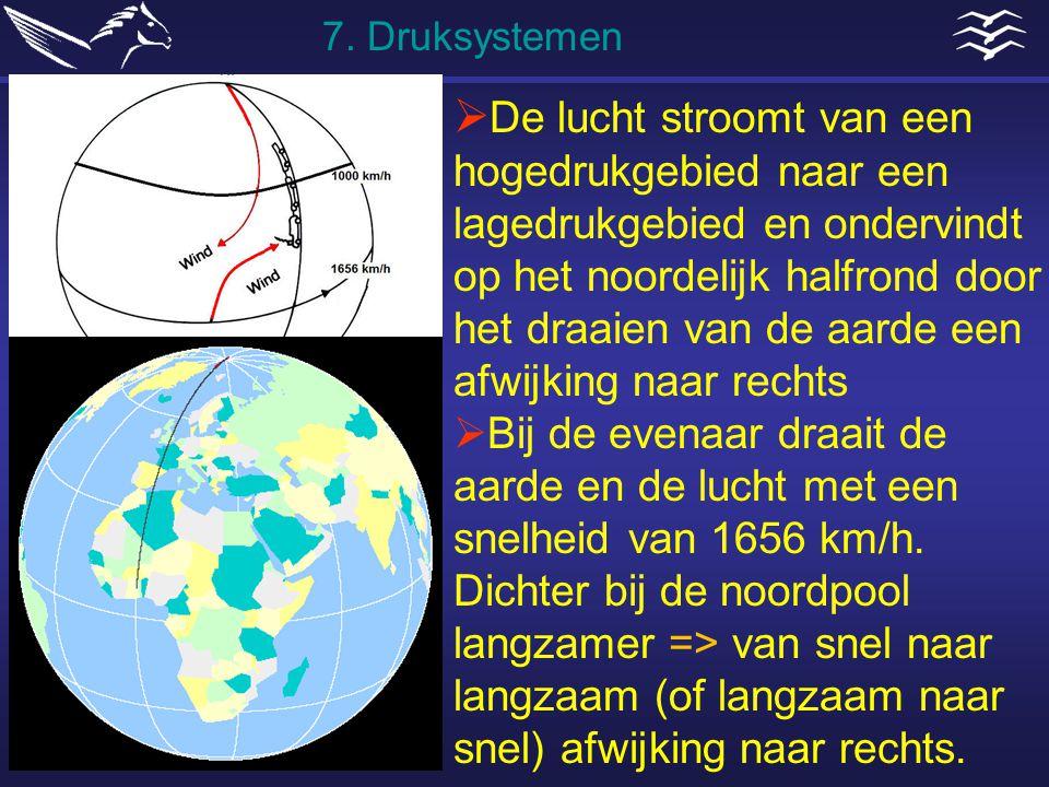  De lucht stroomt van een hogedrukgebied naar een lagedrukgebied en ondervindt op het noordelijk halfrond door het draaien van de aarde een afwijking