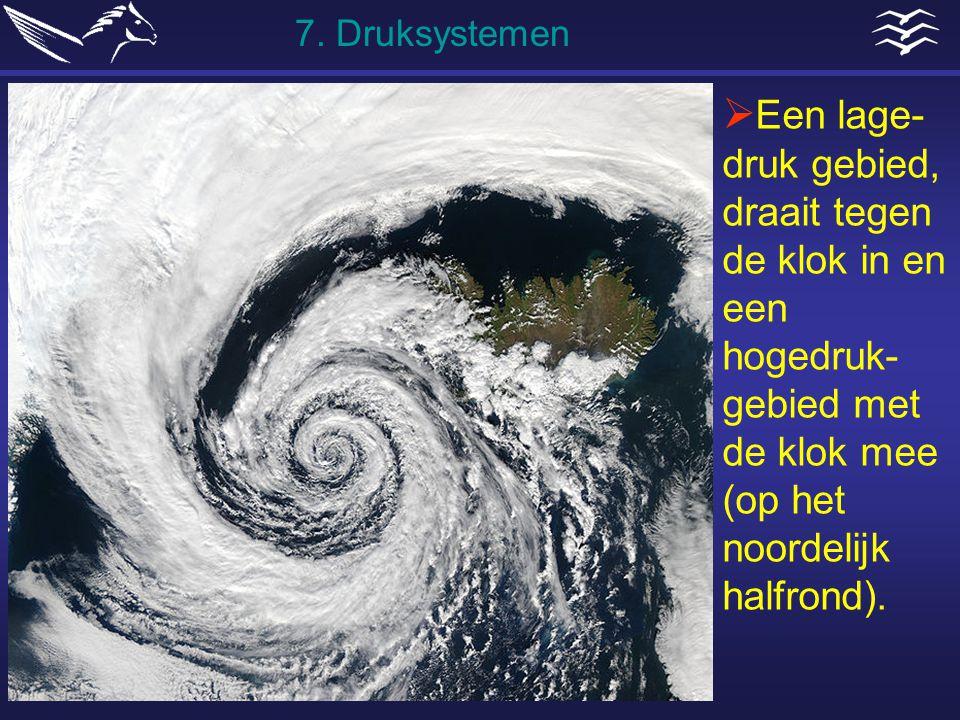  Een lage- druk gebied, draait tegen de klok in en een hogedruk- gebied met de klok mee (op het noordelijk halfrond). 7. Druksystemen