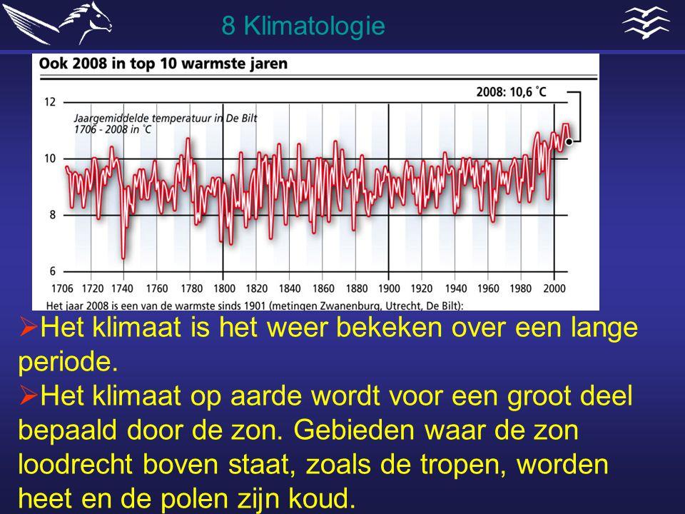  Het klimaat is het weer bekeken over een lange periode.  Het klimaat op aarde wordt voor een groot deel bepaald door de zon. Gebieden waar de zon l