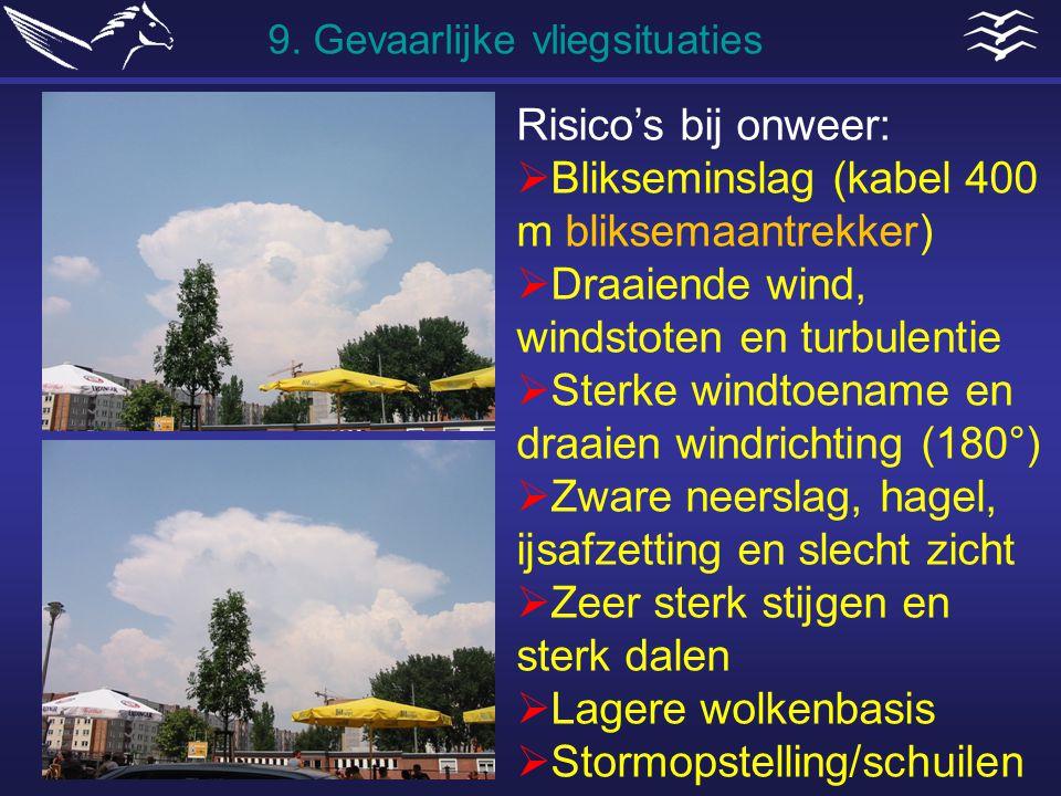 Risico's bij onweer:  Blikseminslag (kabel 400 m bliksemaantrekker)  Draaiende wind, windstoten en turbulentie  Sterke windtoename en draaien windr
