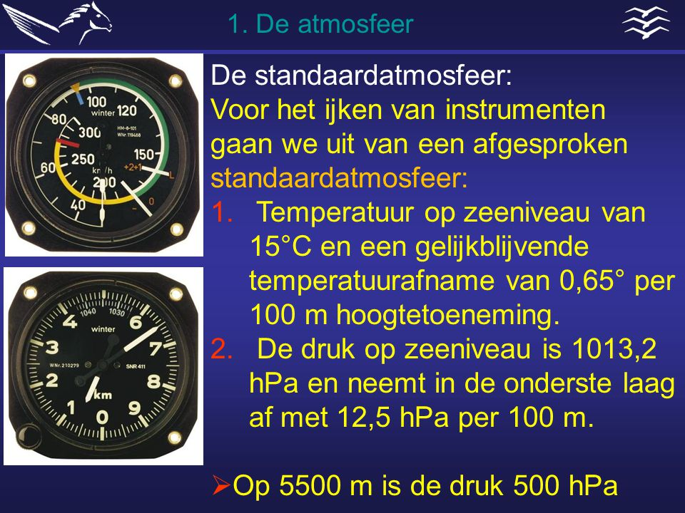 De standaardatmosfeer: Voor het ijken van instrumenten gaan we uit van een afgesproken standaardatmosfeer: 1. Temperatuur op zeeniveau van 15°C en een