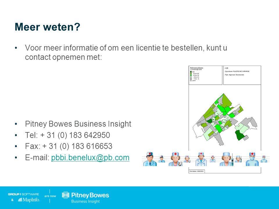Meer weten? •Voor meer informatie of om een licentie te bestellen, kunt u contact opnemen met: •Pitney Bowes Business Insight •Tel: + 31 (0) 183 64295