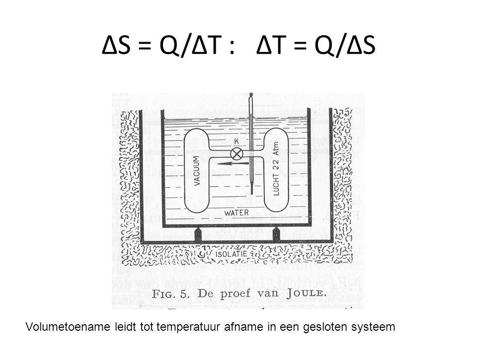 ΔS = Q/ΔT : ΔT = Q/ΔS Volumetoename leidt tot temperatuur afname in een gesloten systeem