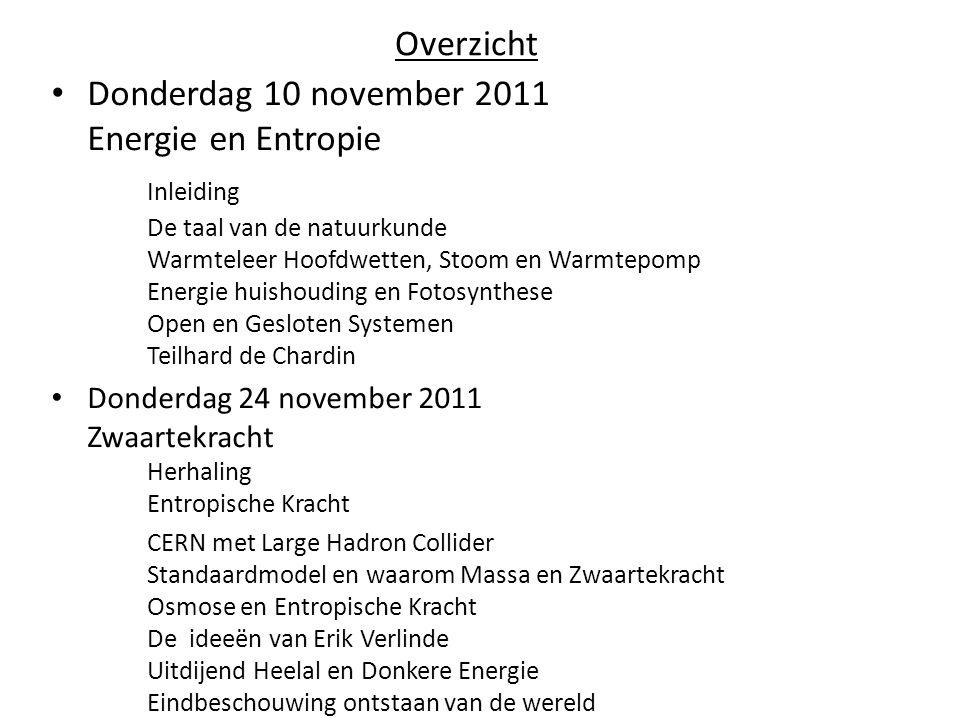 Overzicht • Donderdag 10 november 2011 Energie en Entropie Inleiding De taal van de natuurkunde Warmteleer Hoofdwetten, Stoom en Warmtepomp Energie hu