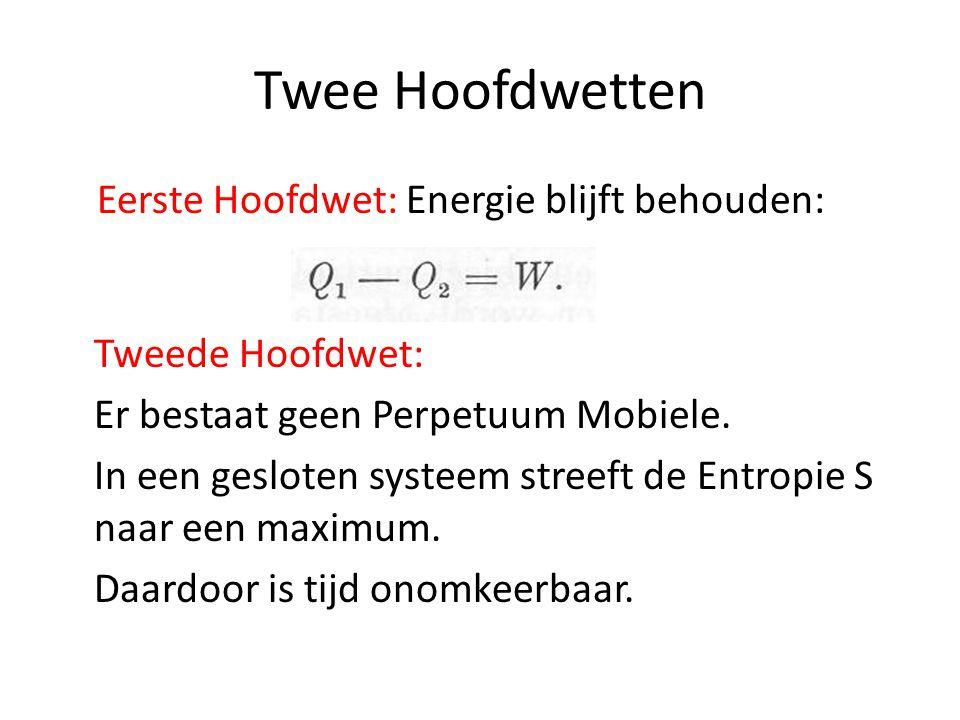 Twee Hoofdwetten Eerste Hoofdwet: Energie blijft behouden: Tweede Hoofdwet: Er bestaat geen Perpetuum Mobiele. In een gesloten systeem streeft de Entr