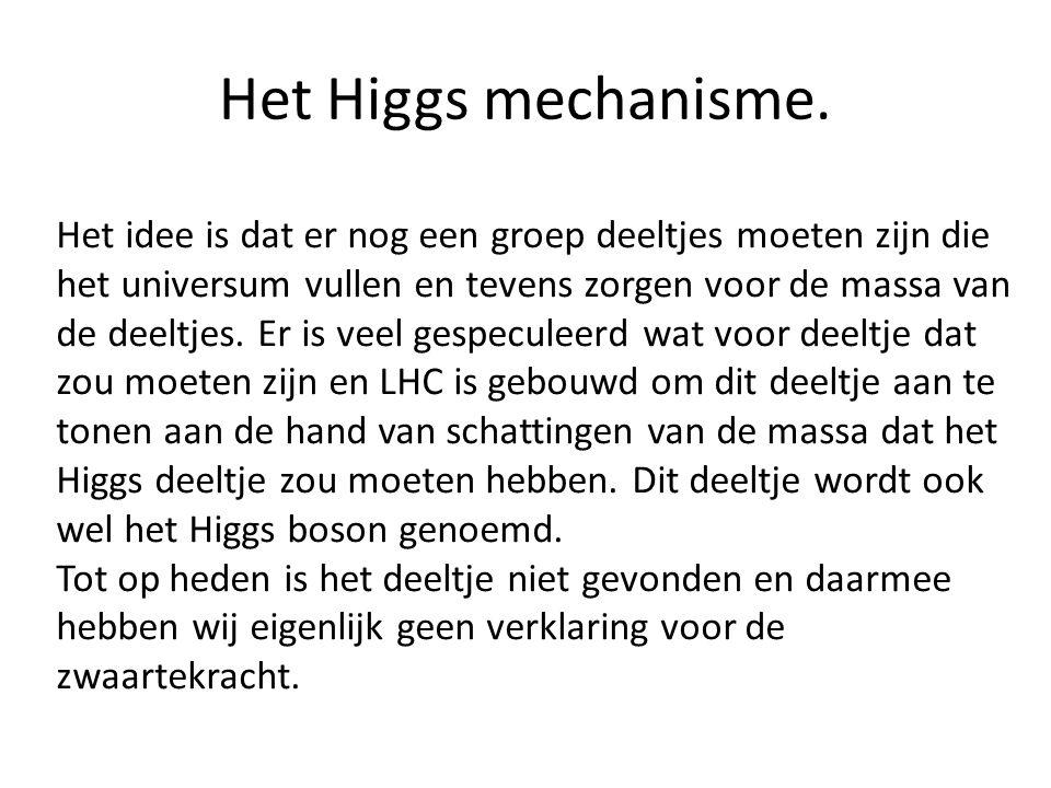 Het Higgs mechanisme. Het idee is dat er nog een groep deeltjes moeten zijn die het universum vullen en tevens zorgen voor de massa van de deeltjes. E