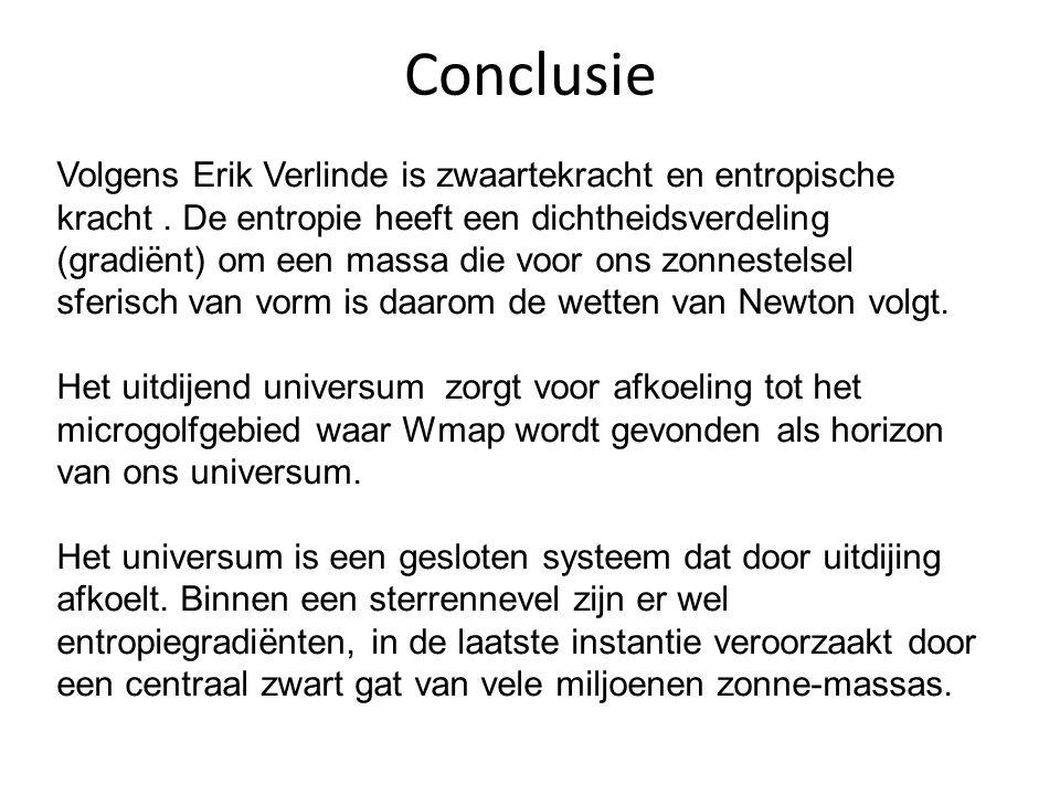 Conclusie Volgens Erik Verlinde is zwaartekracht en entropische kracht. De entropie heeft een dichtheidsverdeling (gradiënt) om een massa die voor ons