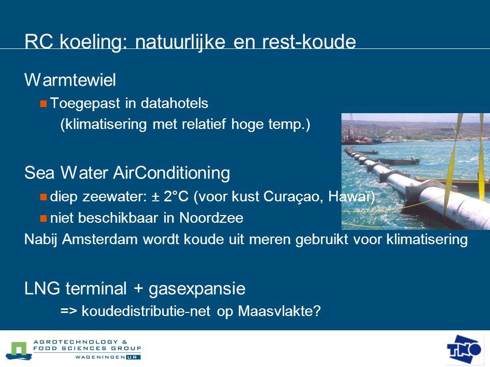 RC koeling: natuurlijke en rest-koude Warmtewiel  Toegepast in datahotels (klimatisering met relatief hoge temp.) Sea Water AirConditioning  diep ze