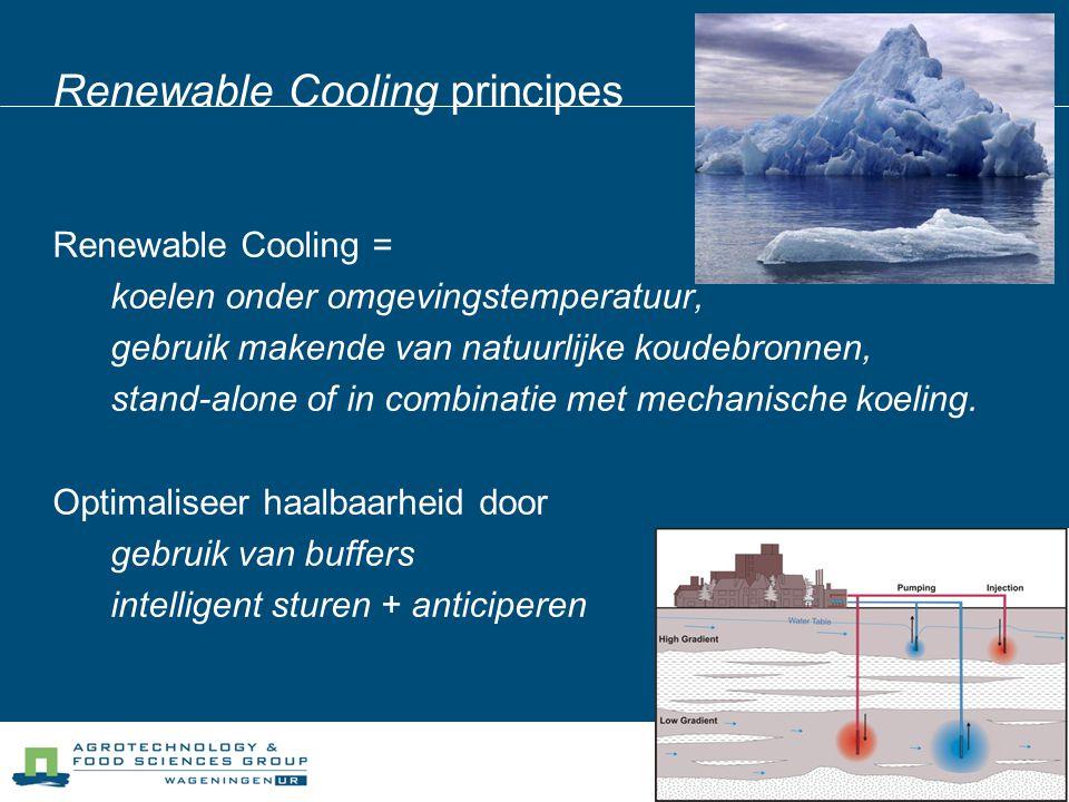 Renewable Cooling principes Renewable Cooling = koelen onder omgevingstemperatuur, gebruik makende van natuurlijke koudebronnen, stand-alone of in com