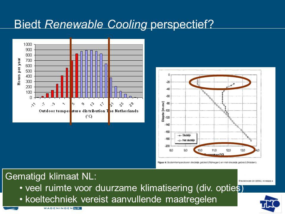 Biedt Renewable Cooling perspectief? Gematigd klimaat NL: • veel ruimte voor duurzame klimatisering (div. opties) • koeltechniek vereist aanvullende m