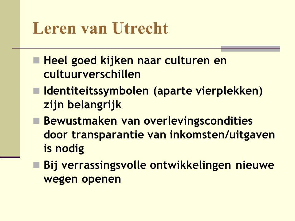Leren van Utrecht  Heel goed kijken naar culturen en cultuurverschillen  Identiteitssymbolen (aparte vierplekken) zijn belangrijk  Bewustmaken van