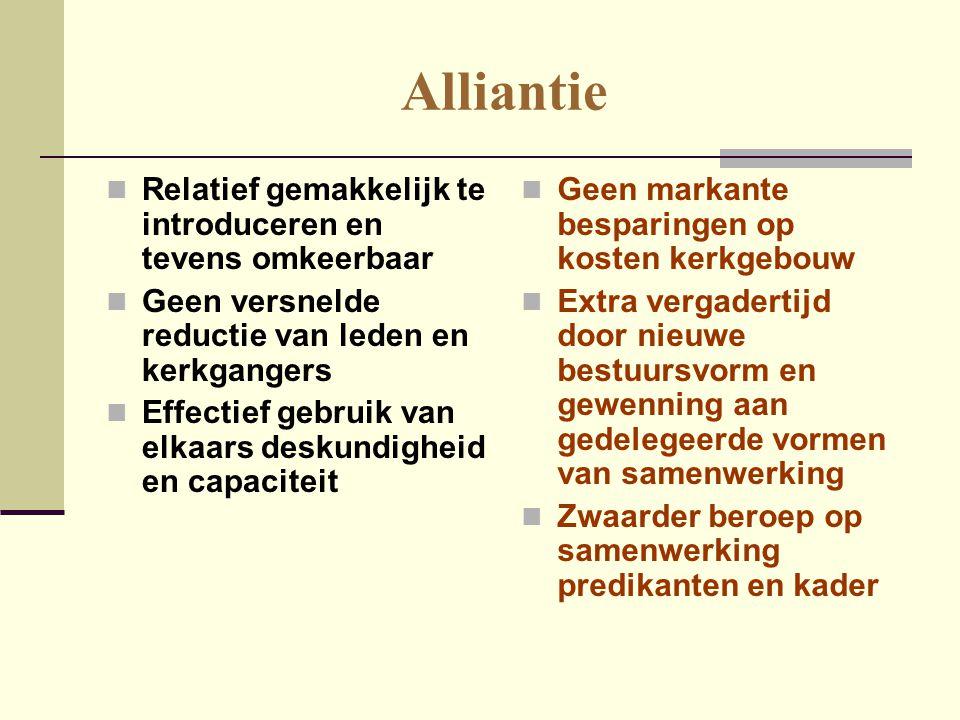 Alliantie  Relatief gemakkelijk te introduceren en tevens omkeerbaar  Geen versnelde reductie van leden en kerkgangers  Effectief gebruik van elkaa