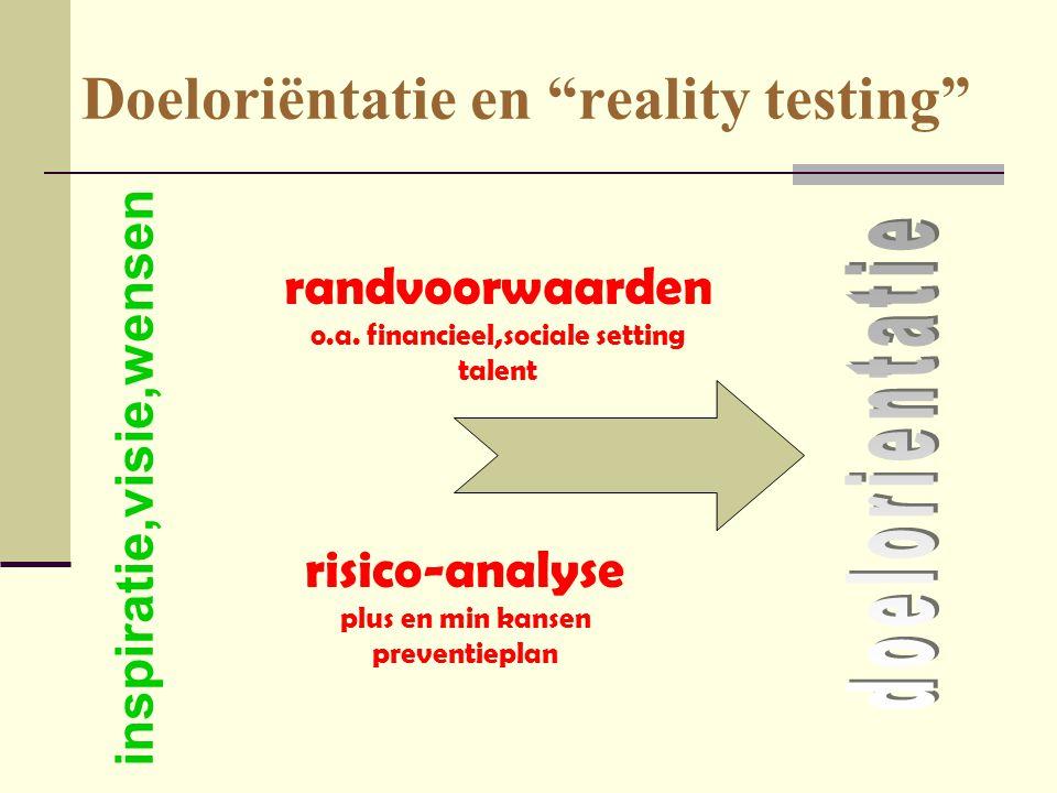 "Doeloriëntatie en ""reality testing"" randvoorwaarden o.a. financieel,sociale setting talent inspiratie,visie,wensen risico-analyse plus en min kansen p"