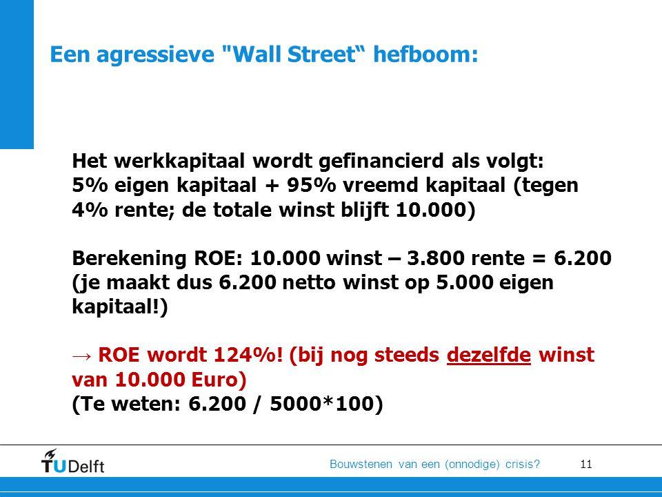 11 Bouwstenen van een (onnodige) crisis? Het werkkapitaal wordt gefinancierd als volgt: 5% eigen kapitaal + 95% vreemd kapitaal (tegen 4% rente; de to