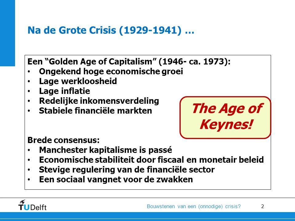 """2 Bouwstenen van een (onnodige) crisis? Na de Grote Crisis (1929-1941) … Een """"Golden Age of Capitalism"""" (1946- ca. 1973): • Ongekend hoge economische"""
