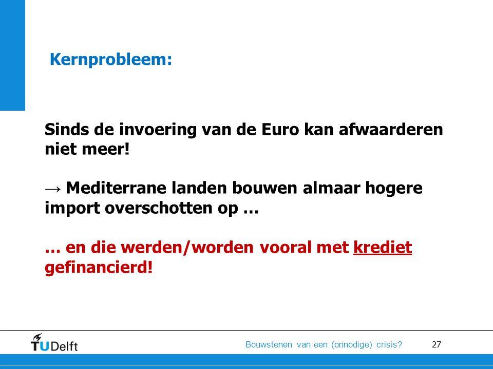 27 Bouwstenen van een (onnodige) crisis? Kernprobleem: Sinds de invoering van de Euro kan afwaarderen niet meer! → Mediterrane landen bouwen almaar ho