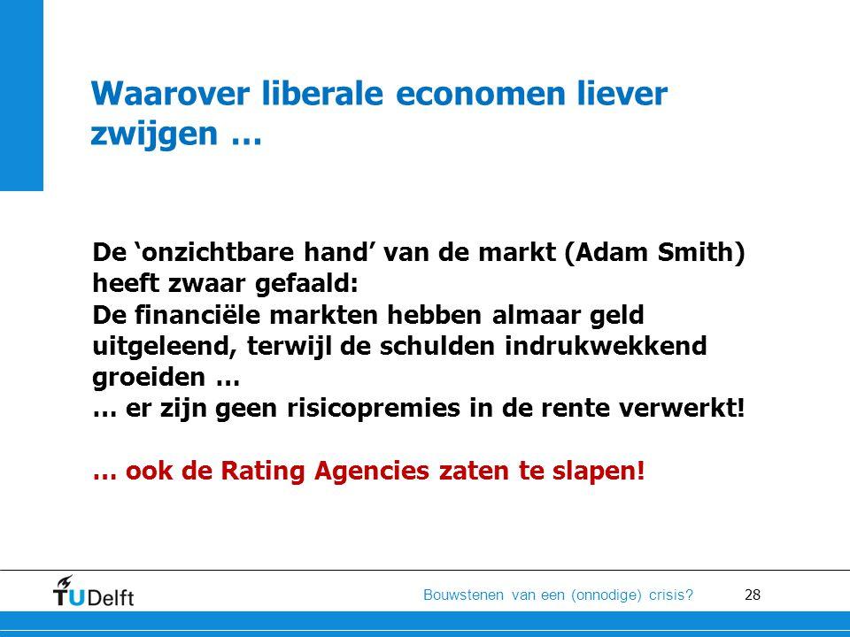 28 Bouwstenen van een (onnodige) crisis? Waarover liberale economen liever zwijgen … De 'onzichtbare hand' van de markt (Adam Smith) heeft zwaar gefaa