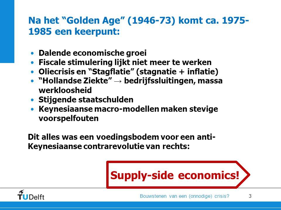 """3 Bouwstenen van een (onnodige) crisis? Na het """"Golden Age"""" (1946-73) komt ca. 1975- 1985 een keerpunt: •Dalende economische groei •Fiscale stimulerin"""