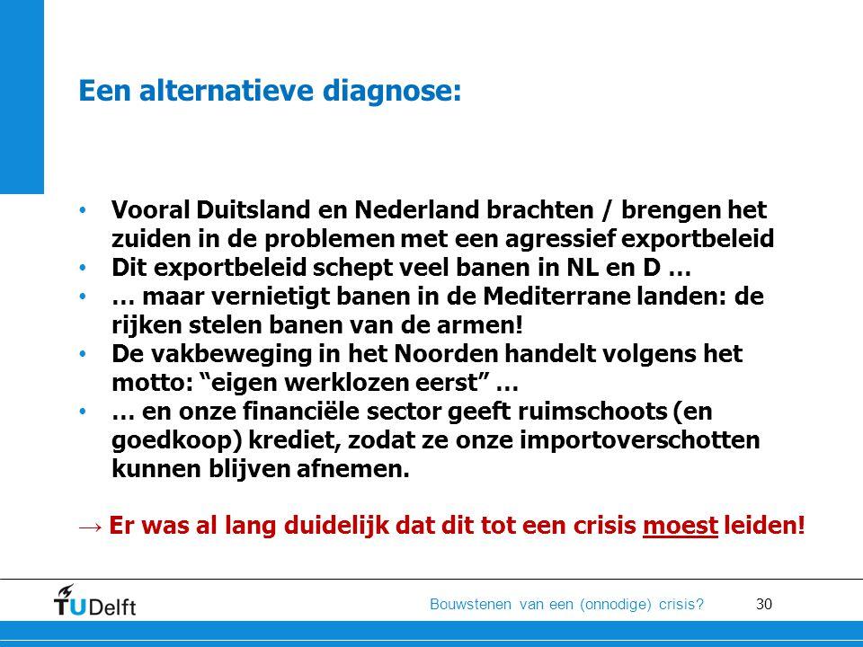 30 Bouwstenen van een (onnodige) crisis? Een alternatieve diagnose: • Vooral Duitsland en Nederland brachten / brengen het zuiden in de problemen met