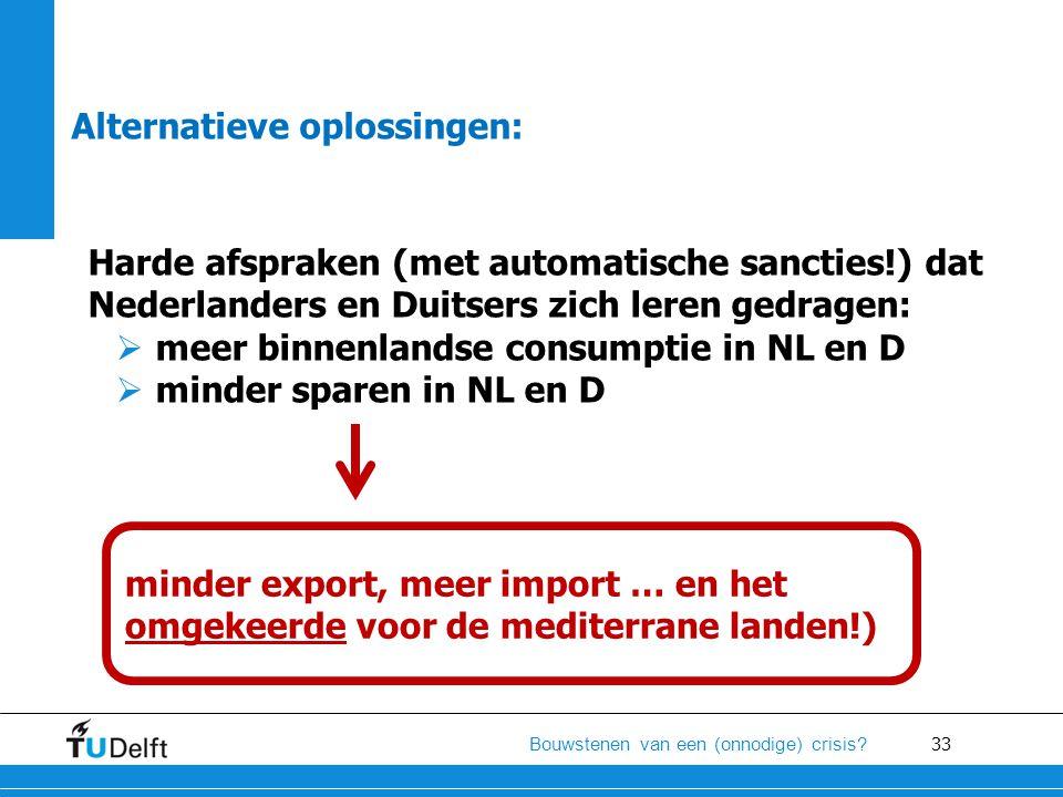 33 Bouwstenen van een (onnodige) crisis? Alternatieve oplossingen: Harde afspraken (met automatische sancties!) dat Nederlanders en Duitsers zich lere