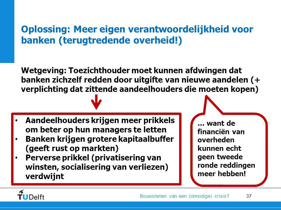 37 Bouwstenen van een (onnodige) crisis? Oplossing: Meer eigen verantwoordelijkheid voor banken (terugtredende overheid!) Wetgeving: Toezichthouder mo