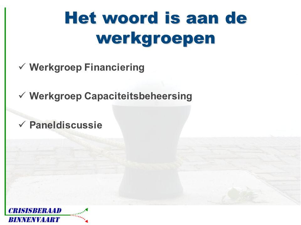 Het woord is aan de werkgroepen  Werkgroep Financiering  Werkgroep Capaciteitsbeheersing  Paneldiscussie