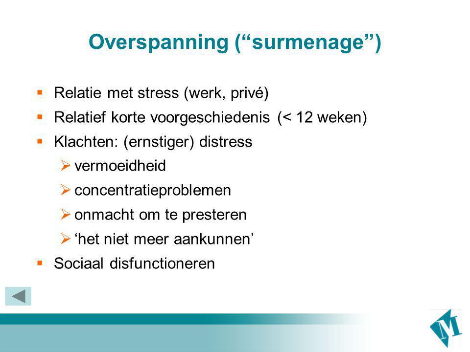 Burnout (Liever: chronisch stress syndroom)  Als overspanning: klachten en disfunctioneren  Langere voorgeschiedenis (> 1 jaar)  Emotionele uitputting  Negatieve houding t.o.v.