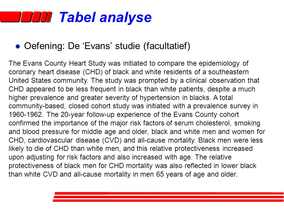 l Oefening: De 'Evans' studie (facultatief) The Evans County Heart Study was initiated to compare the epidemiology of coronary heart disease (CHD) of black and white residents of a southeastern United States community.