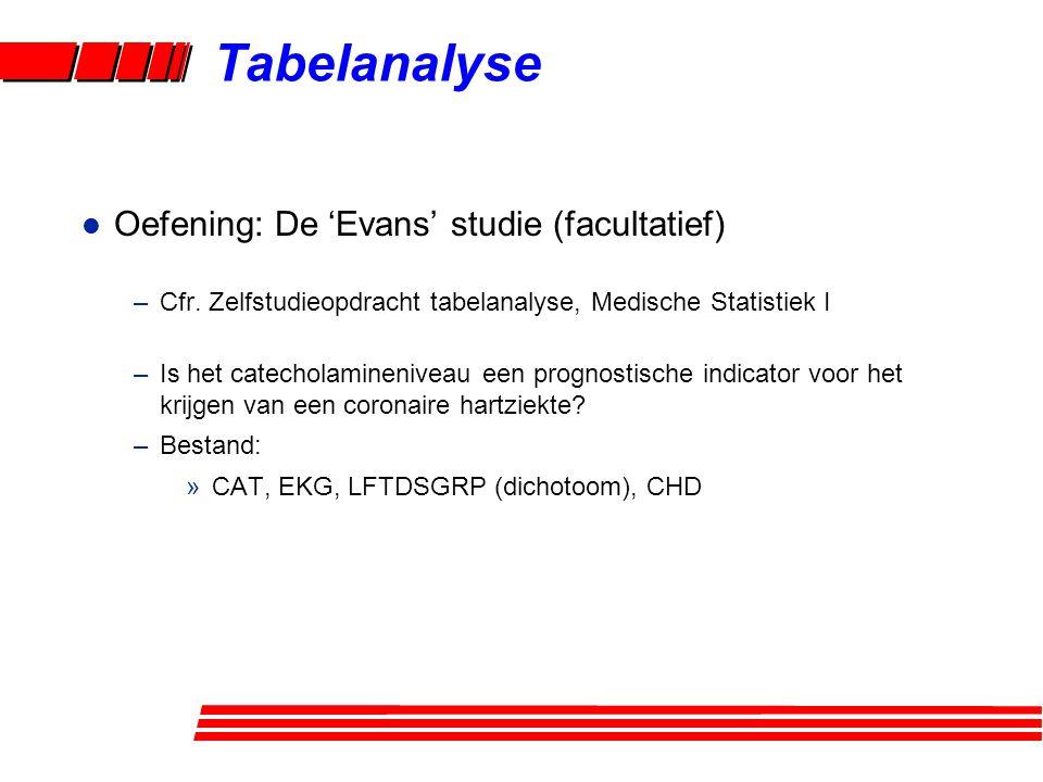 l Oefening: De 'Evans' studie (facultatief) –Cfr.