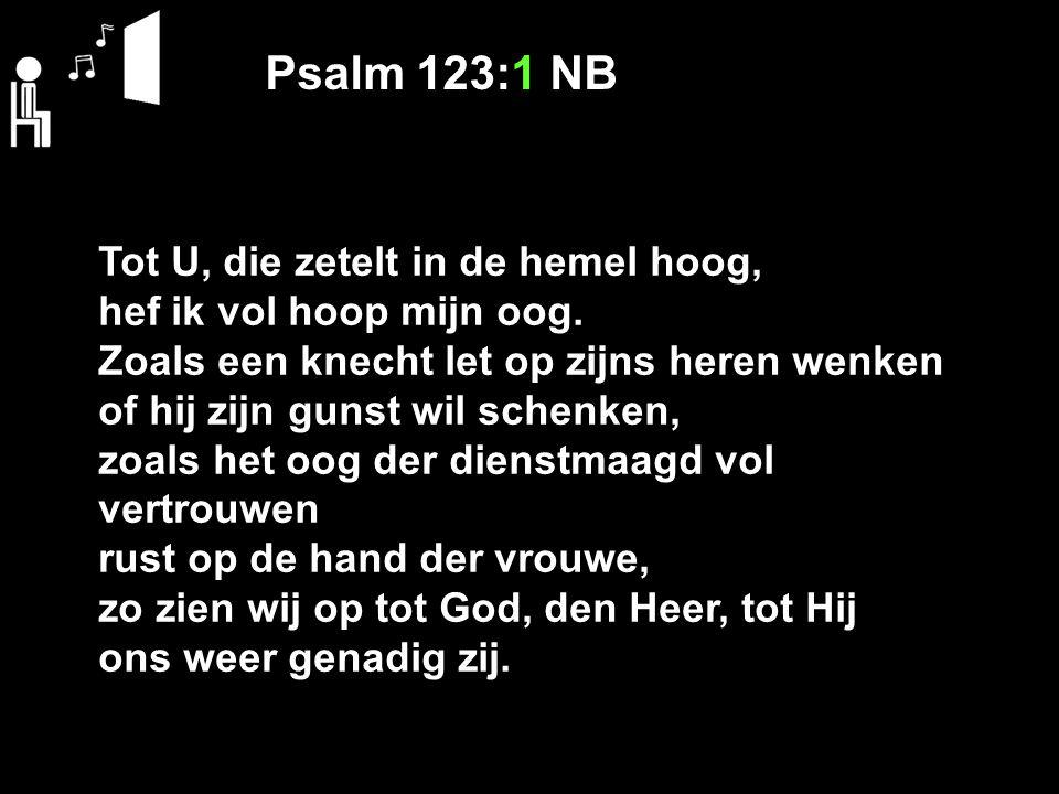 Psalm 123:1 NB Tot U, die zetelt in de hemel hoog, hef ik vol hoop mijn oog. Zoals een knecht let op zijns heren wenken of hij zijn gunst wil schenken
