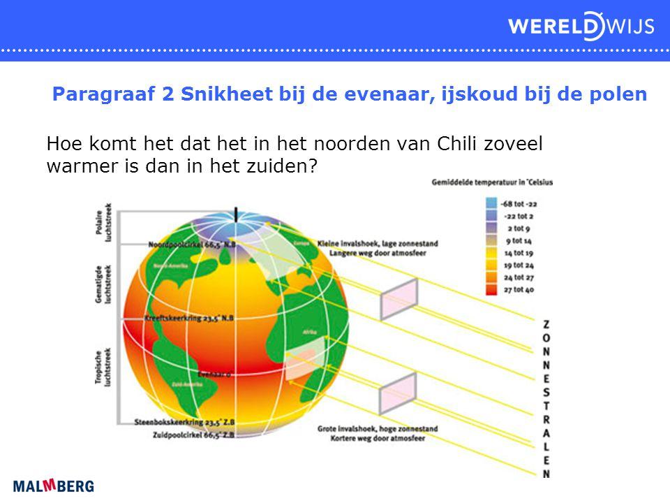 Paragraaf 2 Snikheet bij de evenaar, ijskoud bij de polen Hoe komt het dat het in het noorden van Chili zoveel warmer is dan in het zuiden?