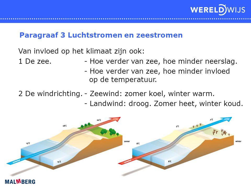 Paragraaf 3 Luchtstromen en zeestromen Van invloed op het klimaat zijn ook: 1 De zee. - Hoe verder van zee, hoe minder neerslag. - Hoe verder van zee,
