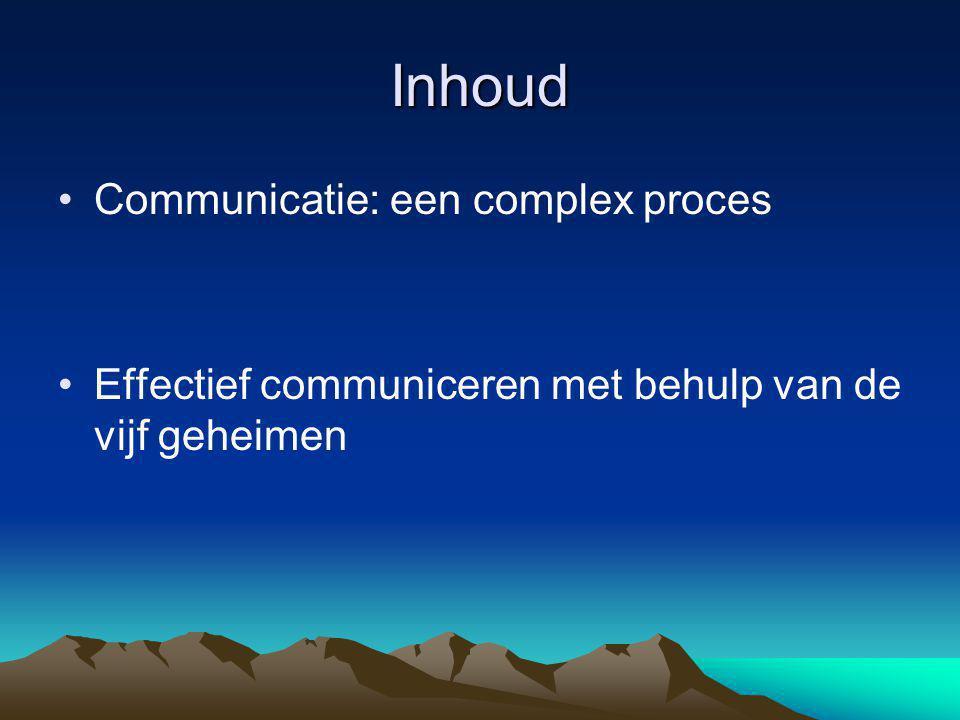 Inhoud •Communicatie: een complex proces •Effectief communiceren met behulp van de vijf geheimen