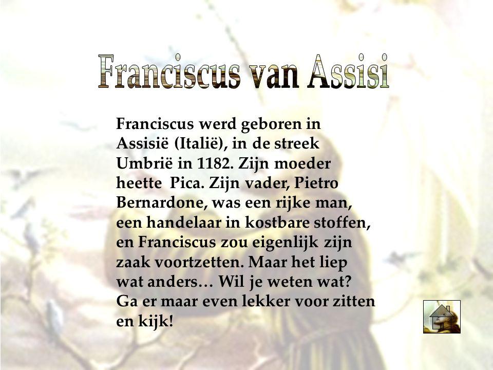 Franciscus werd geboren in Assisië (Italië), in de streek Umbrië in 1182. Zijn moeder heette Pica. Zijn vader, Pietro Bernardone, was een rijke man, e