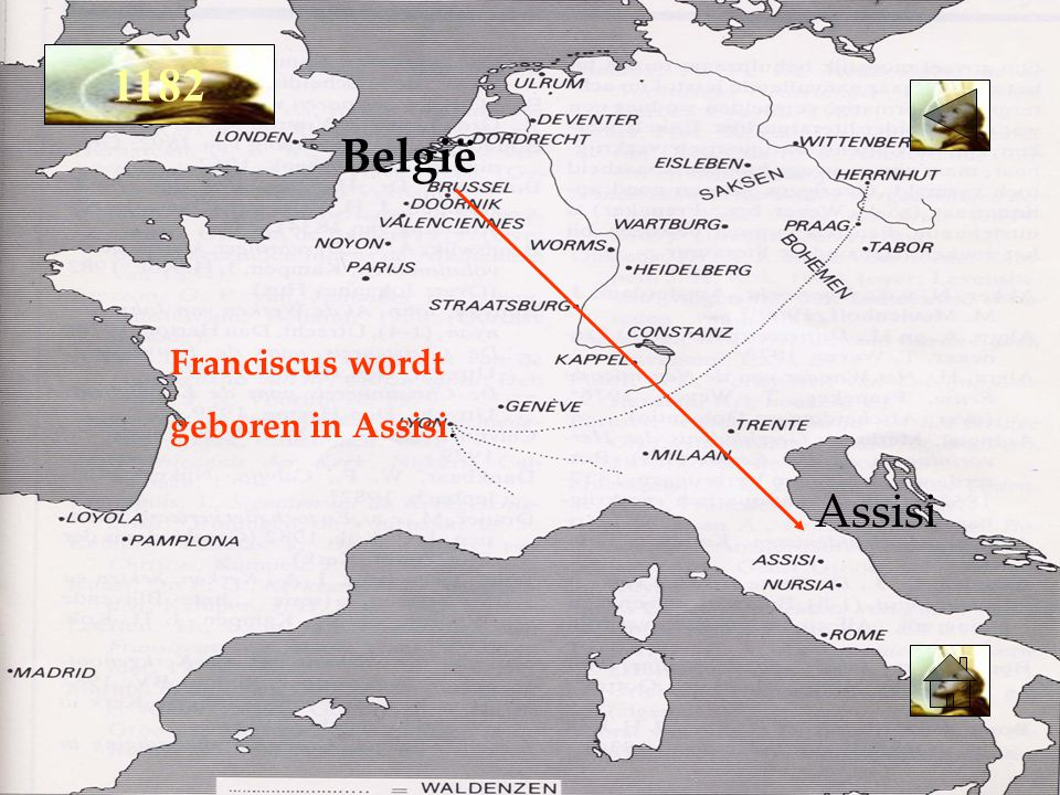 Franciscus wordt geboren in Assisi. België Assisi 1182