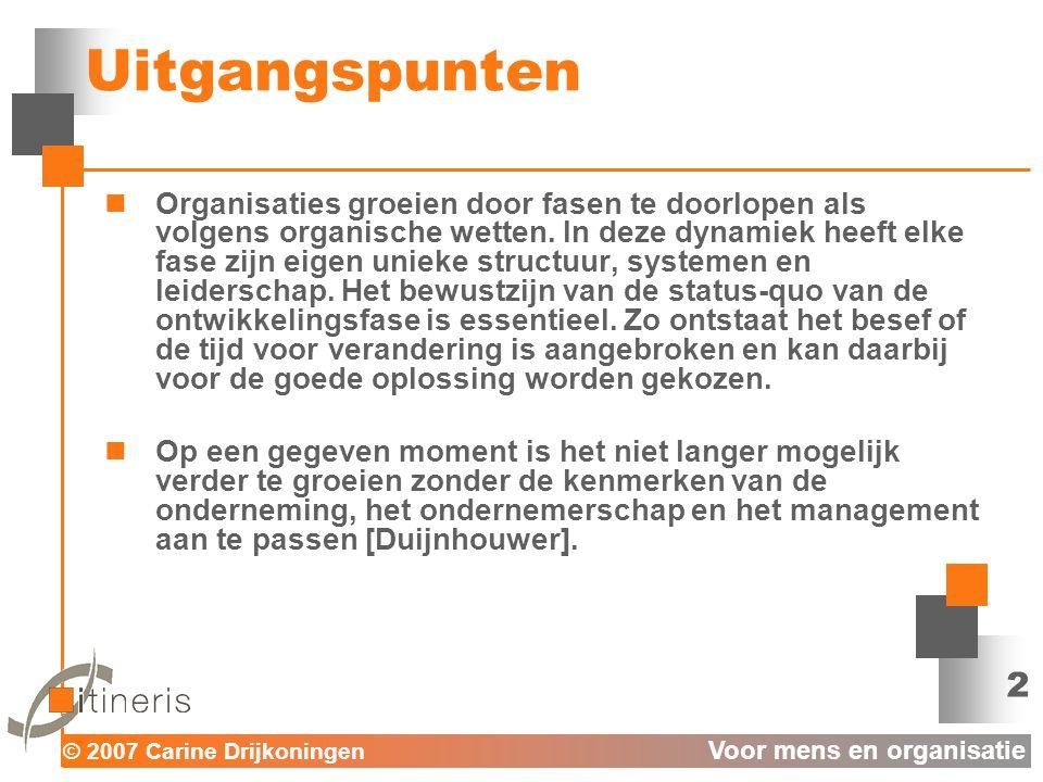 © 2007 Carine Drijkoningen Voor mens en organisatie 2 Uitgangspunten  Organisaties groeien door fasen te doorlopen als volgens organische wetten.