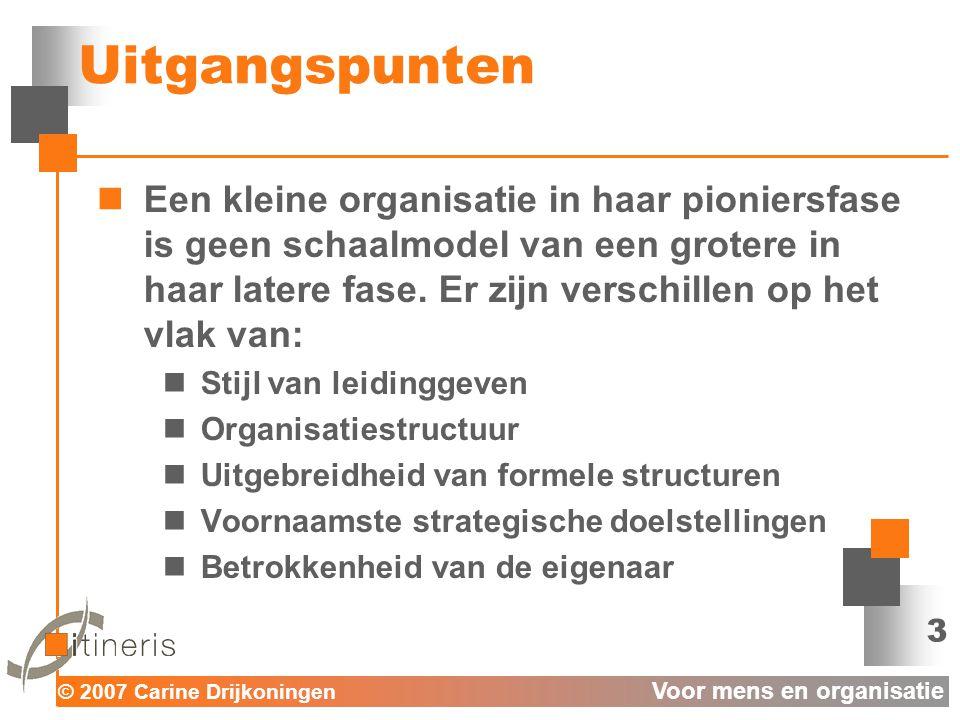 © 2007 Carine Drijkoningen Voor mens en organisatie 3 Uitgangspunten  Een kleine organisatie in haar pioniersfase is geen schaalmodel van een grotere in haar latere fase.