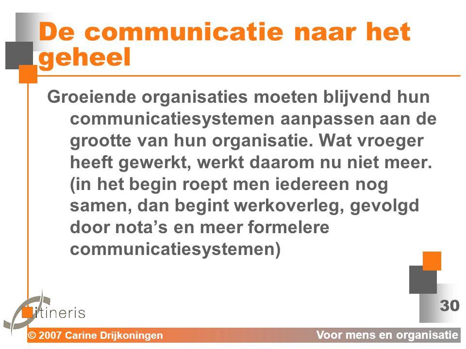 © 2007 Carine Drijkoningen Voor mens en organisatie 30 De communicatie naar het geheel Groeiende organisaties moeten blijvend hun communicatiesystemen aanpassen aan de grootte van hun organisatie.