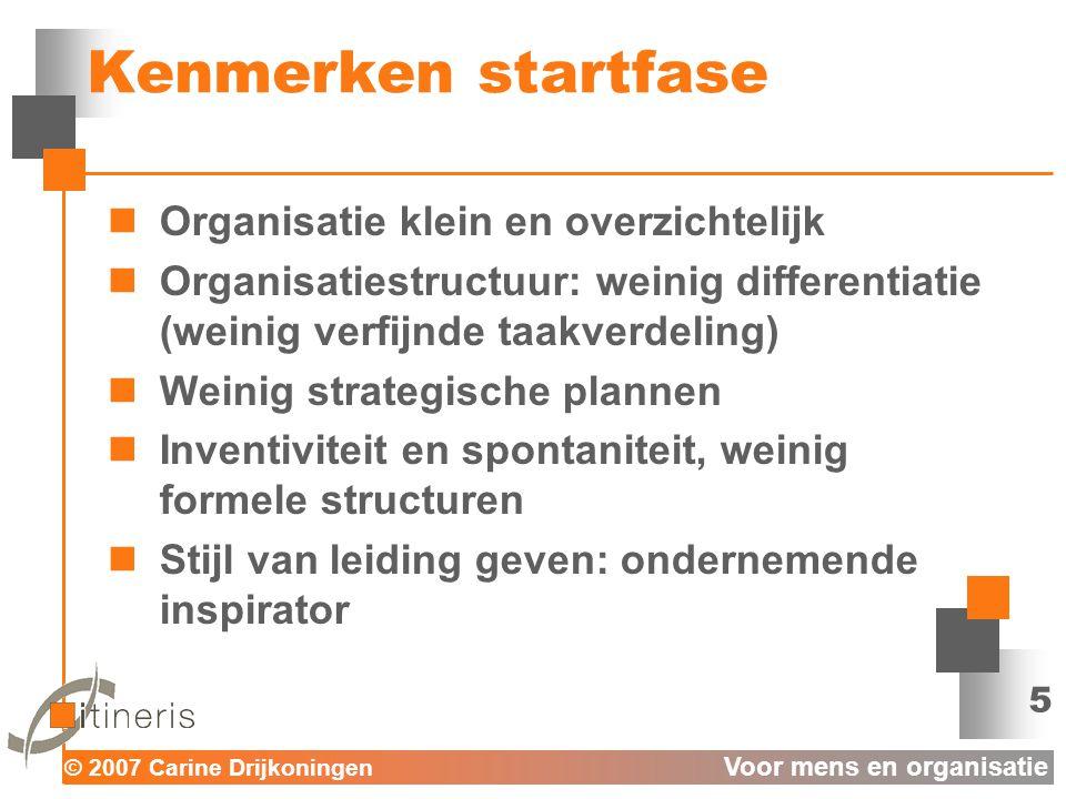 © 2007 Carine Drijkoningen Voor mens en organisatie 6 Kenmerken differentiatiefase  Toename formele structuren: verzakelijking  Verfijnde taakverdeling  Strategische planning is noodzakelijk  Stijl van leiding geven: taakgerichte planner.