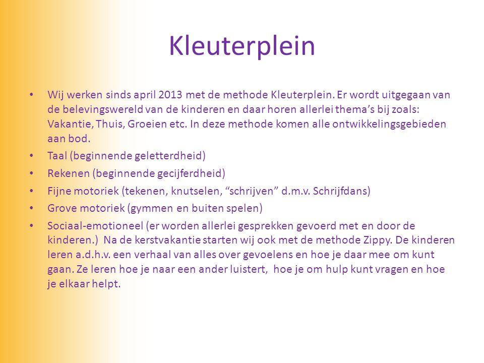 Kleuterplein • Wij werken sinds april 2013 met de methode Kleuterplein. Er wordt uitgegaan van de belevingswereld van de kinderen en daar horen allerl