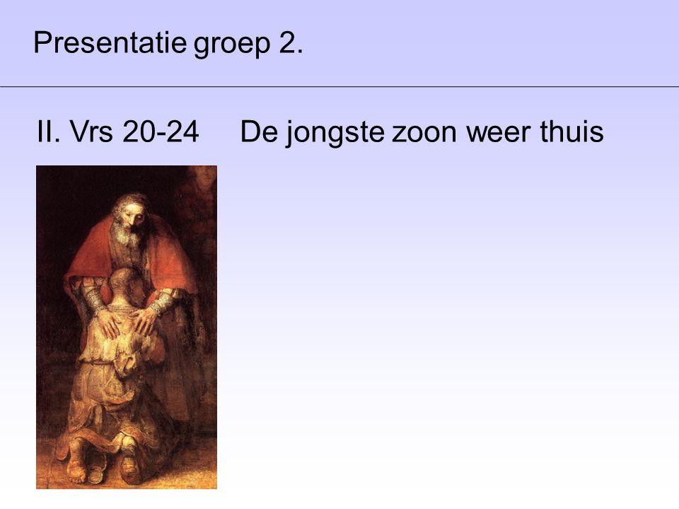 Presentatie groep 2. II. Vrs 20-24 De jongste zoon weer thuis