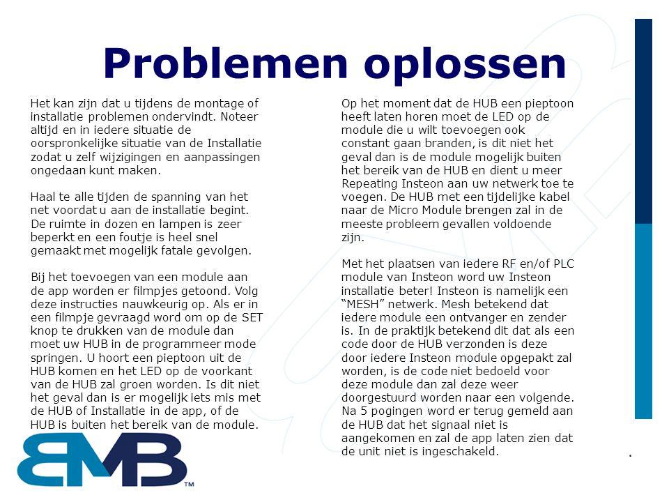 Problemen oplossen Het kan zijn dat u tijdens de montage of installatie problemen ondervindt. Noteer altijd en in iedere situatie de oorspronkelijke s