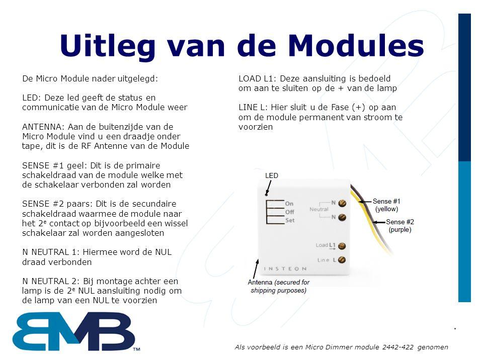 Uitleg van de Modules De Micro Module nader uitgelegd: LED: Deze led geeft de status en communicatie van de Micro Module weer ANTENNA: Aan de buitenzijde van de Micro Module vind u een draadje onder tape, dit is de RF Antenne van de Module SENSE #1 geel: Dit is de primaire schakeldraad van de module welke met de schakelaar verbonden zal worden SENSE #2 paars: Dit is de secundaire schakeldraad waarmee de module naar het 2 e contact op bijvoorbeeld een wissel schakelaar zal worden aangesloten N NEUTRAL 1: Hiermee word de NUL draad verbonden N NEUTRAL 2: Bij montage achter een lamp is de 2 e NUL aansluiting nodig om de lamp van een NUL te voorzien LOAD L1: Deze aansluiting is bedoeld om aan te sluiten op de + van de lamp LINE L: Hier sluit u de Fase (+) op aan om de module permanent van stroom te voorzien Als voorbeeld is een Micro Dimmer module 2442-422 genomen
