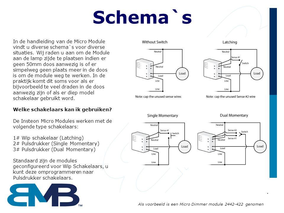 Schema`s In de handleiding van de Micro Module vindt u diverse schema`s voor diverse situaties. Wij raden u aan om de Module aan de lamp zijde te plaa