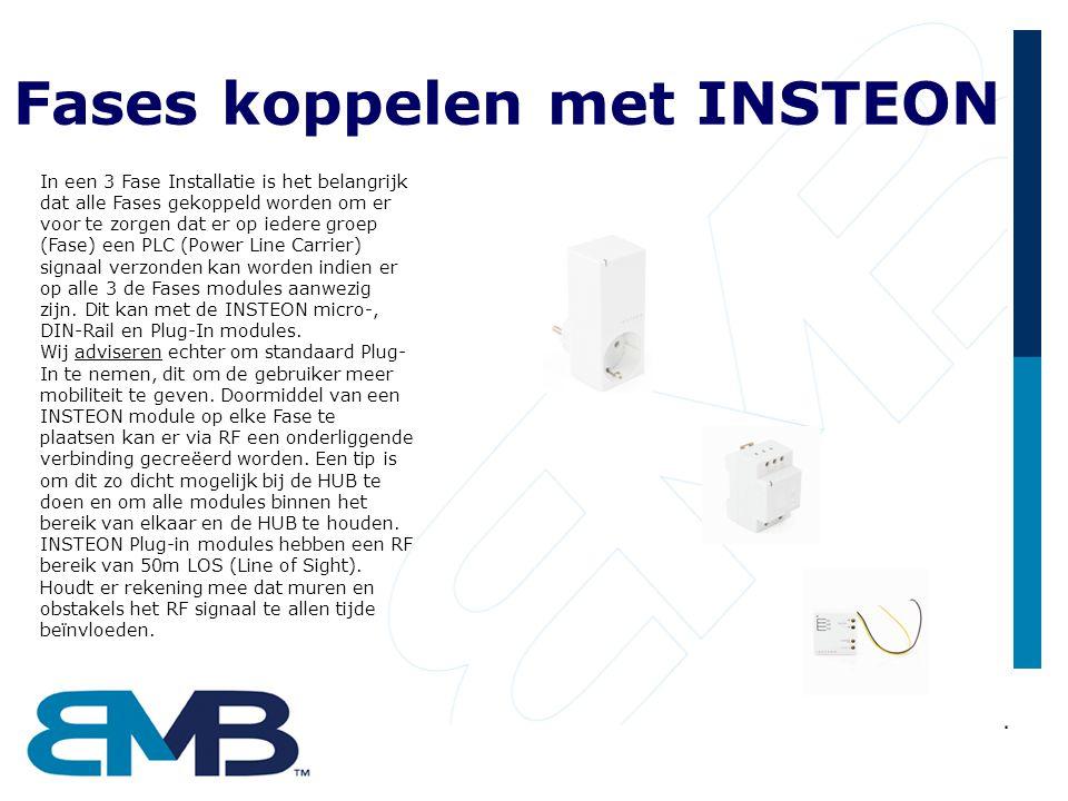 Fases koppelen met INSTEON In een 3 Fase Installatie is het belangrijk dat alle Fases gekoppeld worden om er voor te zorgen dat er op iedere groep (Fase) een PLC (Power Line Carrier) signaal verzonden kan worden indien er op alle 3 de Fases modules aanwezig zijn.