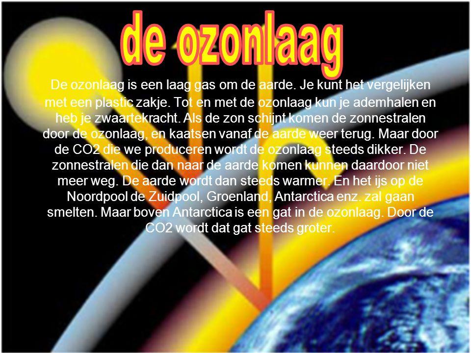 De ozonlaag is een laag gas om de aarde. Je kunt het vergelijken met een plastic zakje. Tot en met de ozonlaag kun je ademhalen en heb je zwaartekrach