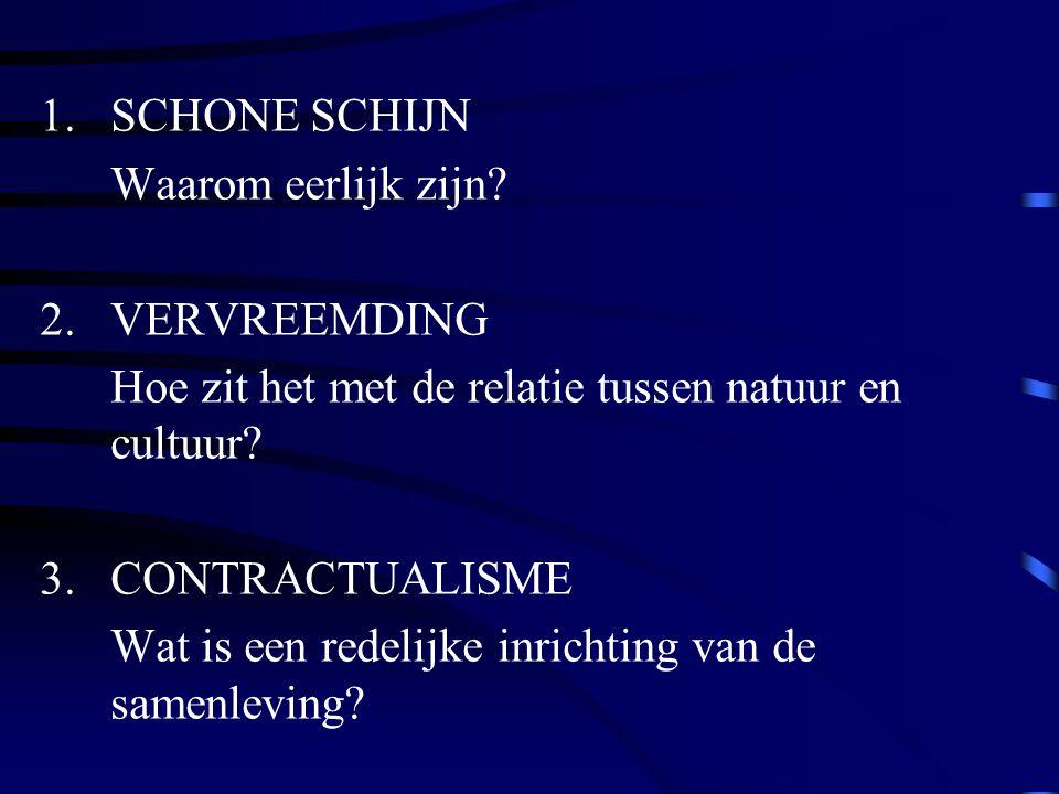 1.SCHONE SCHIJN Waarom eerlijk zijn? 2.VERVREEMDING Hoe zit het met de relatie tussen natuur en cultuur? 3.CONTRACTUALISME Wat is een redelijke inrich