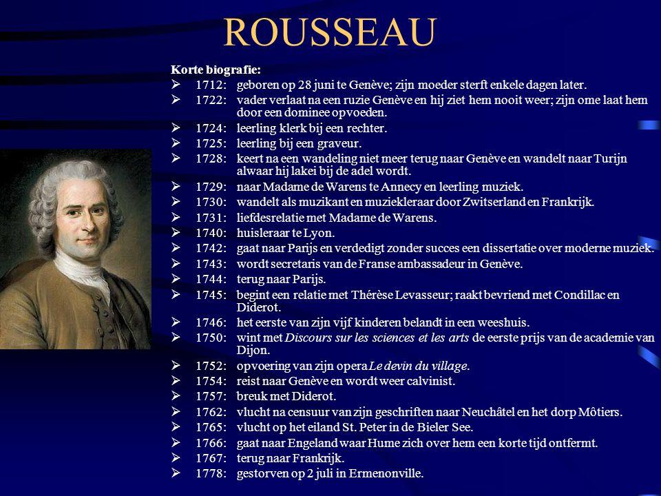 ROUSSEAU Korte biografie:  1712: geboren op 28 juni te Genève; zijn moeder sterft enkele dagen later.  1722: vader verlaat na een ruzie Genève en hi